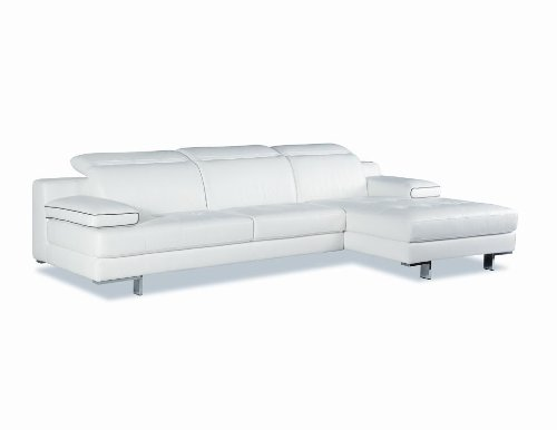J&M Furniture 9097 Full White Italian Leather Sectional Sofa With Adjustable Headrests & Arms