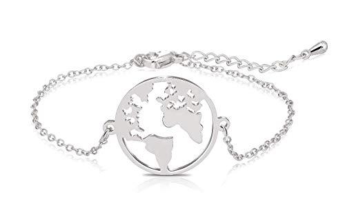 best website dc4d9 6c17b Elegante braccialetto con ciondolo con mappa del mondo