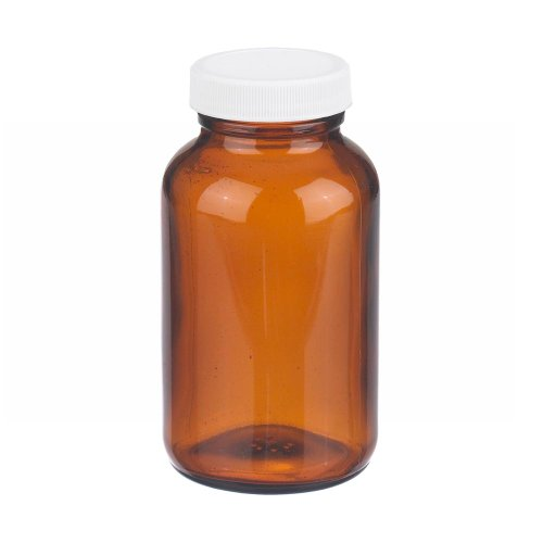 Wheaton W216942 Wide Mouth Packer Bottle, Amber Glass, Capacity 8oz With 45-400 White Polypropylene Poly-Vinyl Lined Screw Cap, Diameter 66mm x 119mm (Case Of 24)