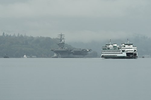 Washington State Ferry M/V Kaleetan passes by as USS Nimitz (CVN 68) transits Sinclair Inlet as it g