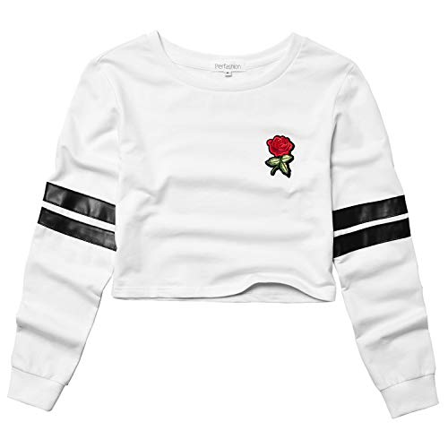 Perfashion Women's Cropped Tops White Long Sleeve Rose Embroidery Stripe Shirts Pullover Crew Neck Sweatshirts