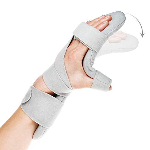 (REAQER Resting Hand Splint Night WristThumb Immobilizer Support for Pain Tendinitis Sprain Fracture Arthritis Dislocation (Left))