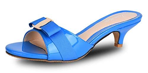 Toe Bowknot Low Cut - Jiu du Women's Slingback Slippers Cute Bowknot Slip On Open Toe Low Heels Ladies Sandals Blue Patent PU Size US9.5 EU42