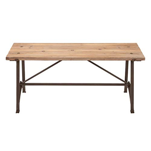 BeUniqueToday Iron Frame Accent Bench with Solid Wood Seat, This Adorable Accent Bench has A Brown Color, Metal Legging and A Traditional Style, A Great Addition to Your Home