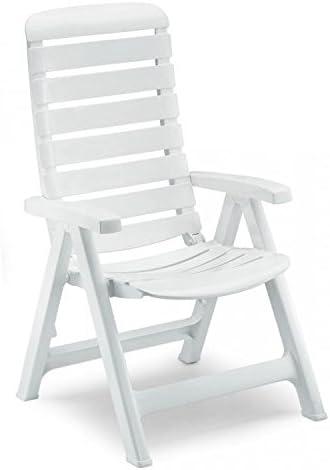 Ideapiu - Sillón de resina blanca, silla plegable de jardín, sillón de relax: Amazon.es: Hogar