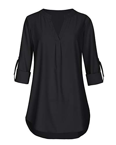 Business Casual Tops for Women V Neck Short Sleeve Tunics Knit Comfy Flattering Blouse T Shirt (Black, Large) by Aliling