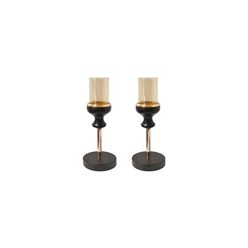 "Jwitao Metal & Glass Candle Holders, Black Farmhouse Décor Tealight Candlesticks 10.25"""