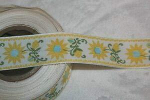 1.25 Yard White Yellow Printed Sunflower Sunflowers Sewing Ribbon Trim 1
