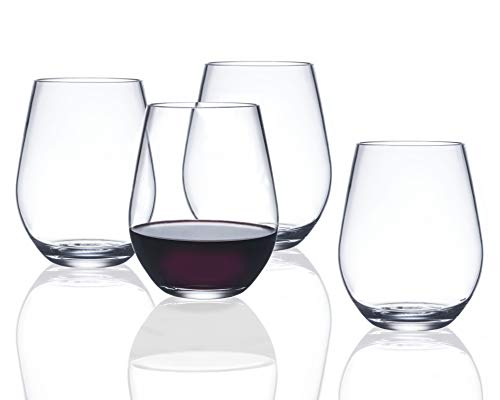 - FDCuvée Set of 4 Heavy-Duty 20 oz Drama Free Unbreakable Stemless All Purpose Wine & Spirit Glass |100% Tritan | Not Glass Material | Dishwasher safe | Odorless| Indoor/Outdoor | Parties & Camping