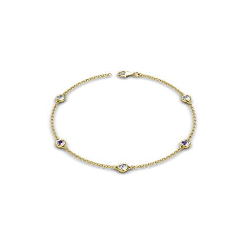 - TriJewels 5 Stations Petite Iolite and Diamond Station Bracelet 0.50 cttw in 14K Yellow Gold