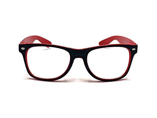 Goson Clear Lens Eye Glasses Non Prescription Glasses Frames For Women and Men - Square Nerd Hipster Glasses - Black/Red ()
