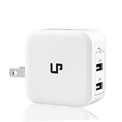LP Dual USB Travel Wall Charger?compatible with iPad, iPhone, Samsung?Smartphones, External Battery, Bluetooth Speaker, Headset?White