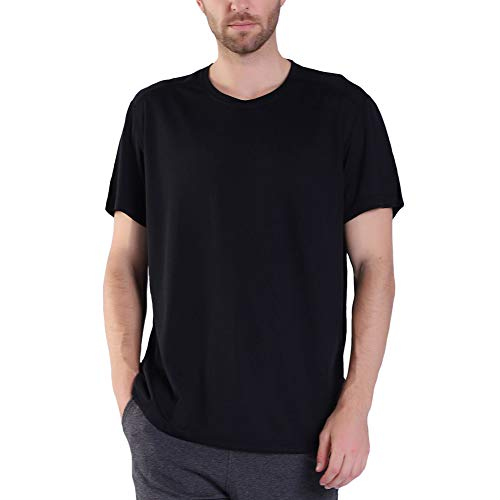 Miavestar Big and Tall Mens Workout Shirts - Moisture Wicking Athletic T-Shirt Black