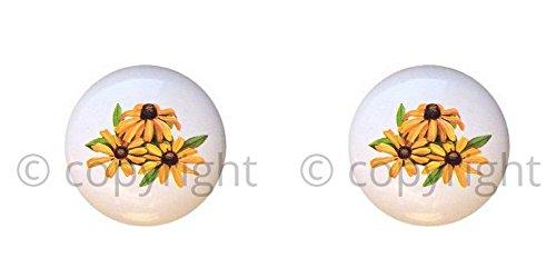 SET OF 2 KNOBS - Black-eyed Susan Flower - Wildflowers Wild Flowers - DECORATIVE Glossy CERAMIC Cupboard Cabinet PULLS Dresser Drawer KNOBS