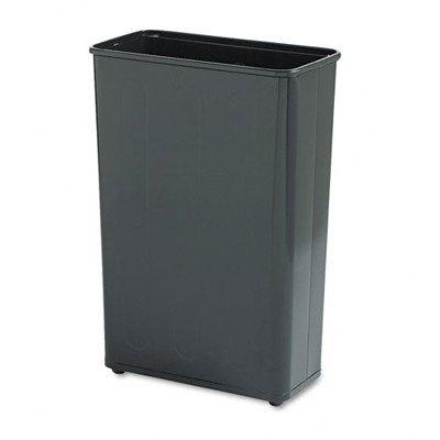24-Gal Rectangular Steel Wastebasket [Set of 3] Color: Black