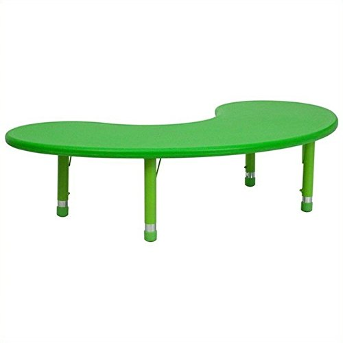 Flash Furniture 35 x 65'' Height Adjustable Half-Moon Green Plastic Activity Table