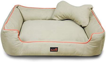 犬猫ソファベッド、 改善されたスリープ/カーキのために猫と犬のクッションベッド/取り外し可能な洗える/冬の温暖化とコージー (Size : L)