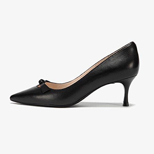 Mouton 6cm Travail Noir Discothèque en De Femme Bow Party Talons Black Sexy 3 Mode WeddingDaphne EU Hauts UK De Cour Peau Chaussures 35 Uvad0dwOq