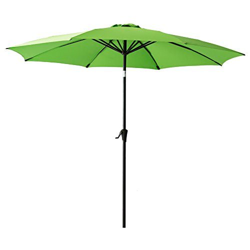 Cheap FLAME&SHADE 11 foot Outdoor Market Umbrella with Crank Lift, Fiberglass Rib Tips, Push Button Tilt, Apple Green