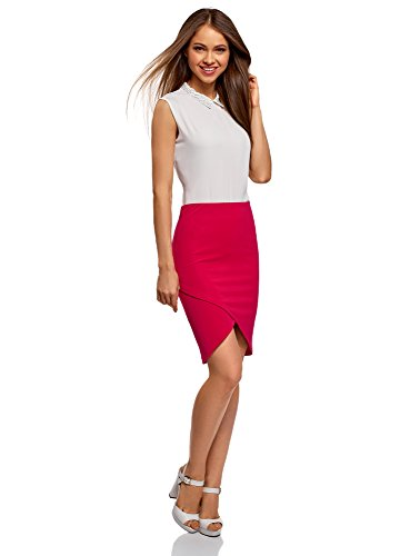 Ultra Femme Bas Maille Jupe Rose oodji 4700n Asymtrique ZwqdTW