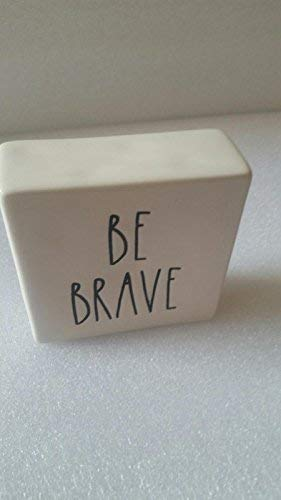 Rae Dunn by Magenta Ceramic Box Sign Desk Paperweight BE BRAVE/WORK HARD ()