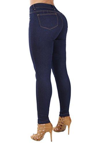 Curvify Classic High Rise Skinny Jeans| Pantalon Colombiano Levanta Cola (768, Indigo, 3)