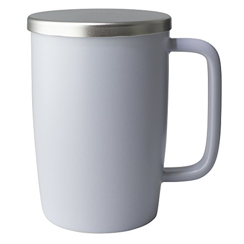 (FORLIFE Dew Satin Finish Brew-In-Mug with Basket Infuser & Stainless Lid 18 oz., Lavender)