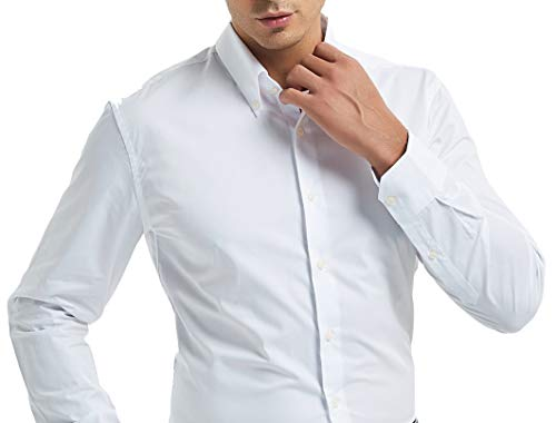 Nolwenn Men's Dress Shirt Solid Button Down Easy Iron Long Sleeve (Large) (Dress Shirt Pinpoint Fit)