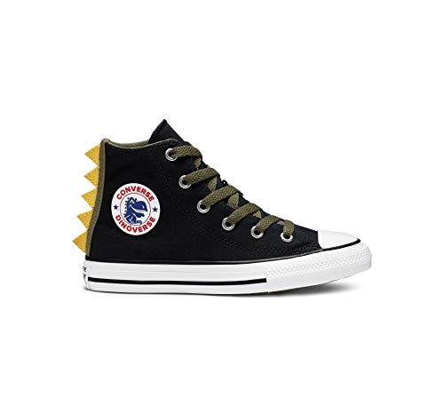 Converse Boys' Chuck Taylor All Star Dino Spikes Sneaker, Black/Field Surplus/White, 13 M US Little Kid (Boys High Top Converse Shoes)