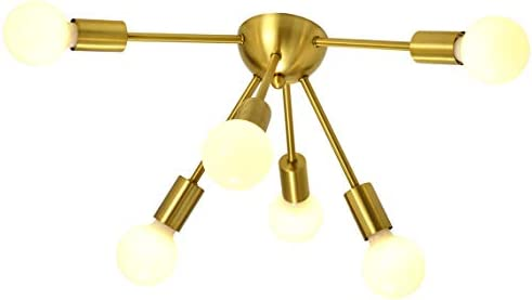SOTTAE 6-Light Modern Spuntnik Ceiling Light, Gold Mid Century Modern Flush Mount Ceiling Light Sputnik Chandelier Light for Great Room, Dining Room,Office, Kitchen and Entryway Bulb not Include