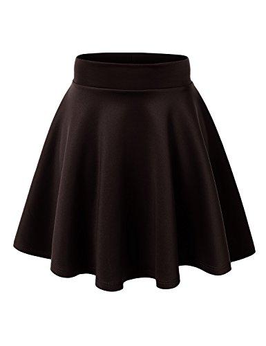 MBJ WB669 Womens Basic Versatile Strechy Flare Skater Skirt XXL Brown -