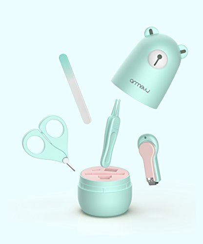 Baby Manicure Set by ARRNEW | 4-in-1 Grooming Kit with Baby Bear Case, Nail Clipper, Scissor, File & Tweezer | Baby Nail Care Kit for Newborn, Infant & Toddler | Safe and Comfortable | (Light Blue) from Arrnew