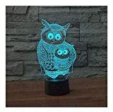 3D Owl Animal Night Light 7 Color Change LED Table Desk Lamp Acrylic Flat ABS Base USB Charger Home Decoration Toy Brithday Xmas Kid Children Gift