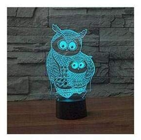 3D Owl Animal Night Light 7 Color Change LED Touch Table Desk Lamp Acrylic Flat ABS Base USB Charger Home Decoration Toy Brithday Xmas Kid Children Gift ()