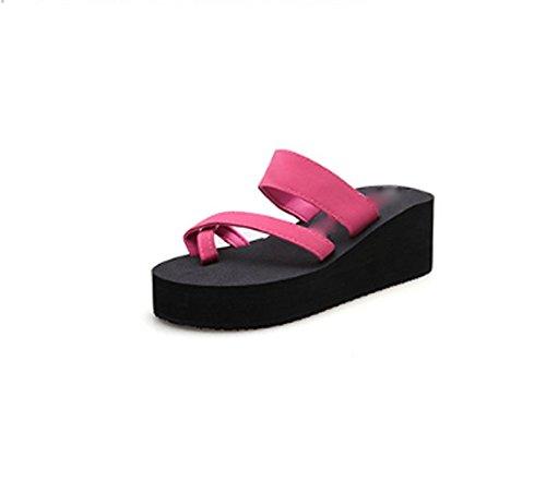 Ajunr Moda/elegante/Transpirable/Sandalias Pellizco Zapatillas Espesor inferior Remolcar 6cm de talón Pie Ocio Las zapatillas de playa Rosa roja ,39 38