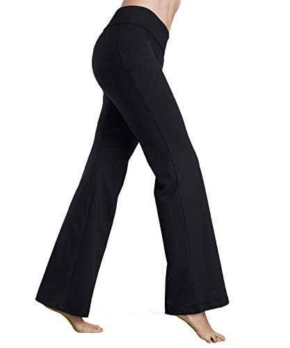 Bamans Womens Comfort Fit Bootcut Yoga Pants Workout Running Non See Through Slim Stretch Wide Leg Yoga Leggingss,Black XL