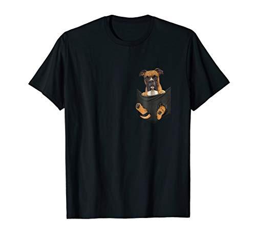 Boxer Inside Pocket Funny T-Shirt Lover Dog Cute Gift Tee