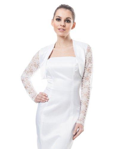 Bolro femme soire de marie satin pour cocktail veste de dentelle Manche pleine longueur bolero Blanc