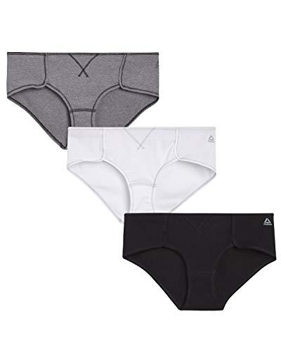 Reebok Womens 3 Pack Cotton Hipster Black/Heather Grey/Black Small