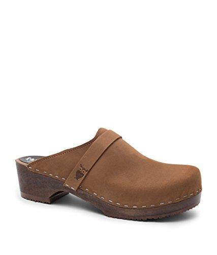 Dexter Leather Heels - Sandgrens Swedish Low Heel Wooden Clog Mules for Women | Tokyo Dexter Tan, EU 37