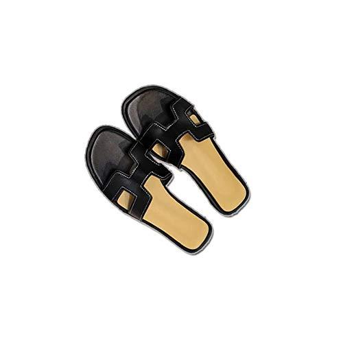 Health Lodge Women Summer Casual Flat Sandals Trends Shoes Sweet Beach Sandals (Black, 39) ()
