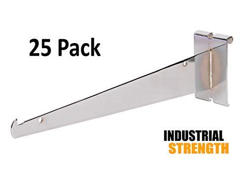 Only Hangers Shelf Brackets for Gridwall, 12'' Chrome Grid Panel Brackets (Pack of 25) - Shelf Brackets Fit All 3'' x 3'' Standard Gridwall Panels by Only Hangers