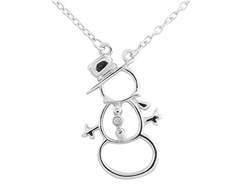 Snowman Pendant Necklace with Diamond Accent in Sterling Silver with Chain]()