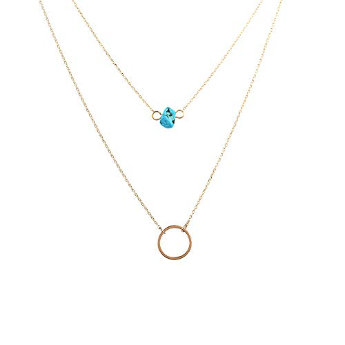 Delicate Stone - New Moon Choker Necklace for Women - 14K Gold Filled Turquoise Stone New Moon Choker Necklace for Girls, Delicate Handmade Choker Necklace Best Birthday Gifts Weeding Gifts for Women Girls