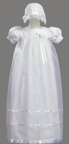 Long White Embroidered Organza Christening Baptism Gown with Bonnet - S (3-6 ()