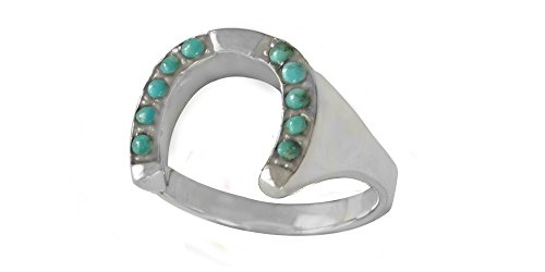 Sterling Silver Genuine Turquoise Men's Horse Shoe Ring (11) (Silver Turquoise Gallery Ring)