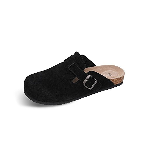 TF STAR Unisex Boston Soft Footbed Clog Cow Suede Leather Clogs, Cork Clogs Shoes for Women Men - Mens Clogs Boston