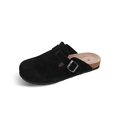 TF STAR Unisex Boston Soft Footbed Clog Suede Leather Clogs, Cork Clogs Shoes Women Men,Black,13 M US