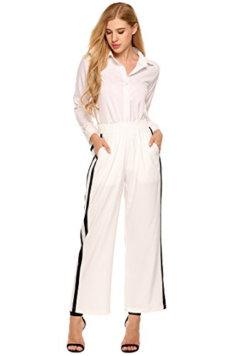 Cropped Track Pant with Side Tape,Wide Leg Joggers With Side Stripe, White, X-Large