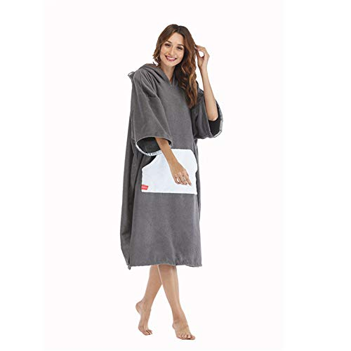 ncho Towel Changing Robes Beach Towel Changing Robe Long Sleeve Towelling Change Poncho/Dry Robe More Size Surfing Swimming Robe (Color : White, Size : Young(96x60cm)) ()